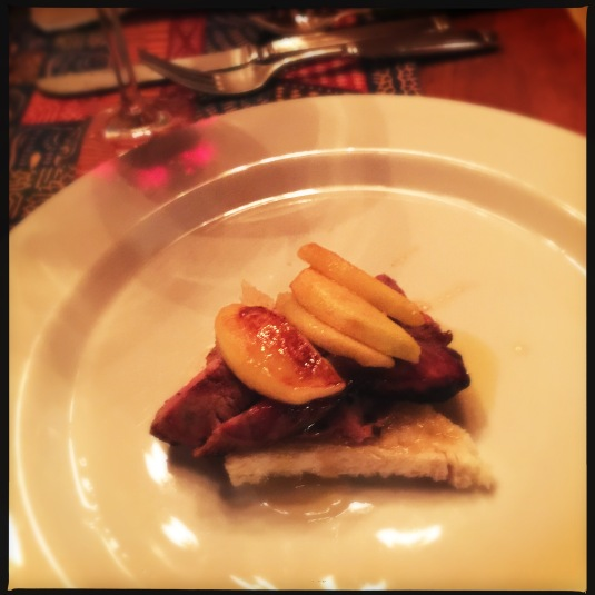 Pork chop with foie gras, apple and maple syrup