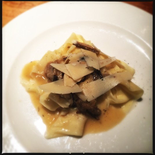 Tagliatelle with porcini and beef bone maple sauce