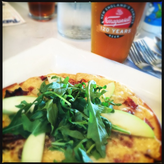 Two Brothers Tavern's Vermont cheddar bacon apple flatbread with