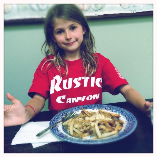 Willa back home with Dad's homemade poutine