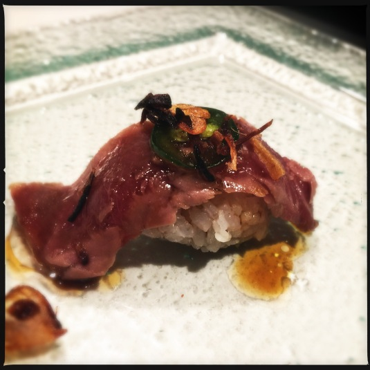Seared bluefin tuna with jalapeño and fried shallots