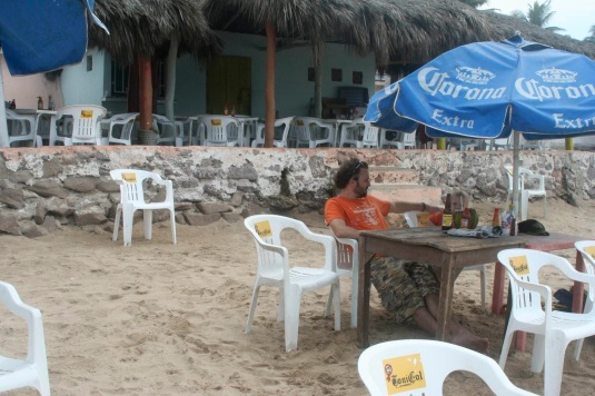Waiting patiently for my fish taco on the beach in Mazatlan.