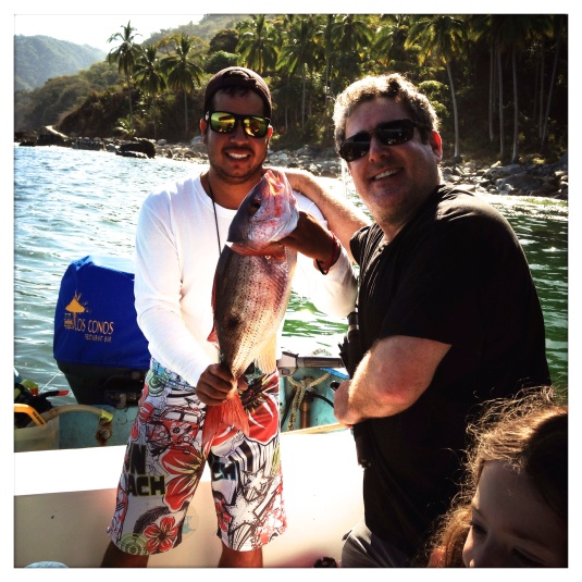 Donnie and our fisherman, Mario, catching our own damned fish for the tacos --Puerto Vallarta, 2014