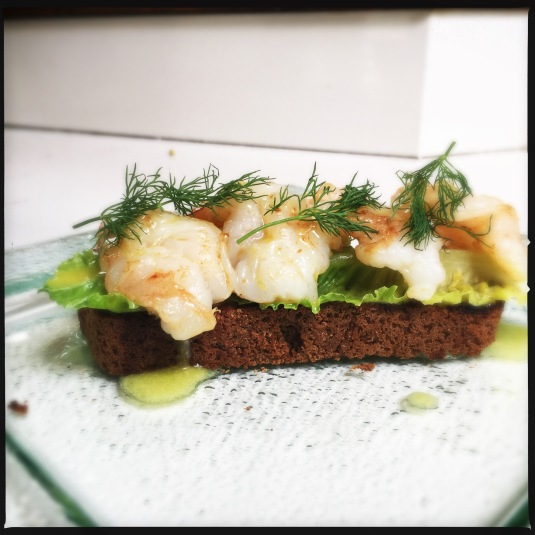 My four-shrimp Scandinavian sandwich