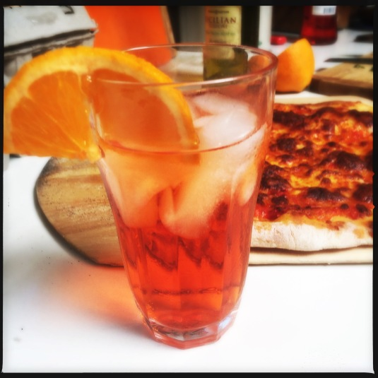 Aperol spritz and homemade pizza