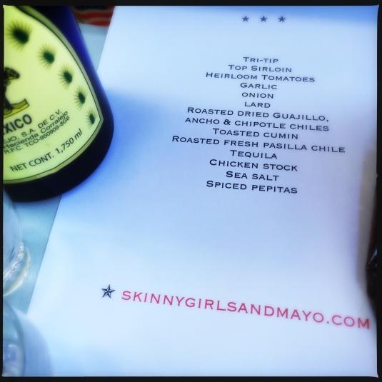 My ingredient list
