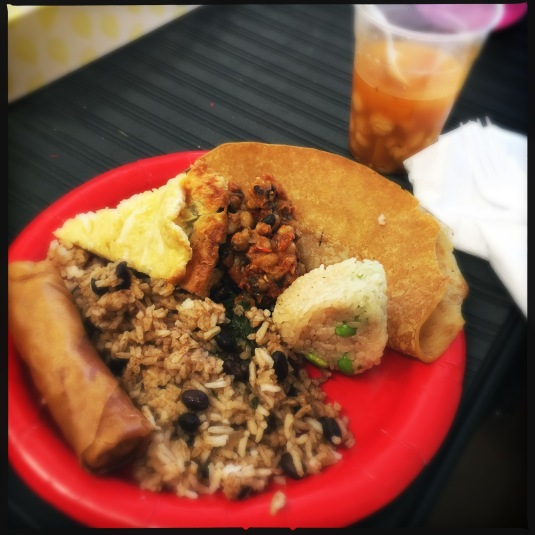My plate, featuring egg roll, Dominican rice and beans (topped with Sri Lankan curry), Japanese rice ball, Nigerian beans, Russian crepe, English toad in the hole and Mexican pozole.